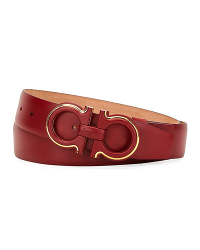 Men's Smooth Leather Belt with Enamel Gancini Buckle