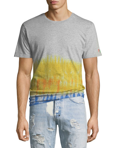 Men's Short Sleeve T With Tie-Dye Waist