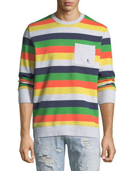 Image 1 of 1: Men's Candy-Stripe Fleece Sweatshirt with Pocket