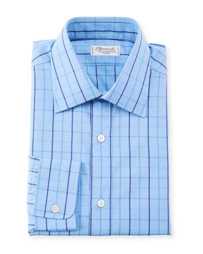 Men's Grid Striped Dress Shirt