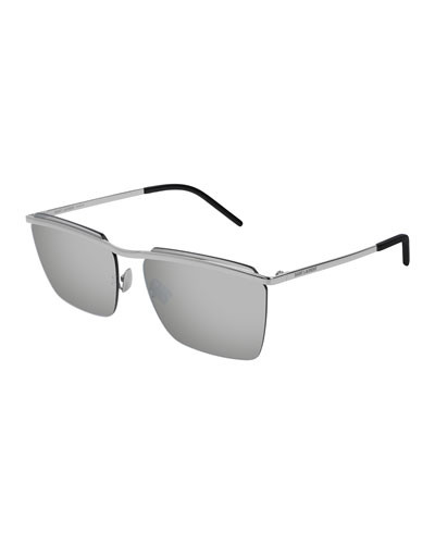 Men's SL243 Flat-Top Sunglasses, Silver