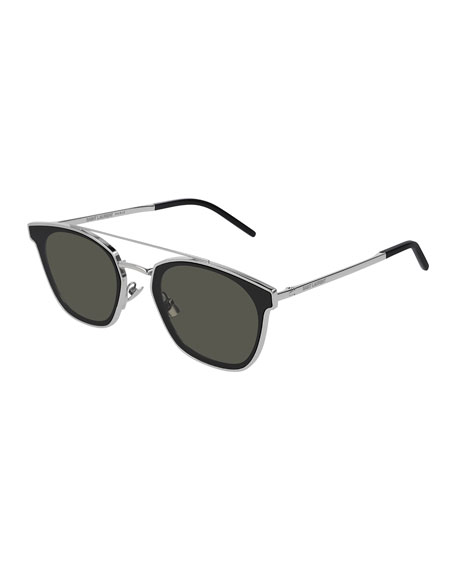 Saint Laurent Men's Metal Flush-Lens Brow-Bar Sunglasses