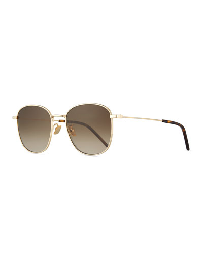Men's Square Metal Aviator Sunglasses with Gradient Lenses