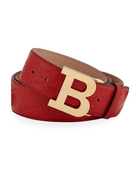 Bally Men's Stamped Leather Belt