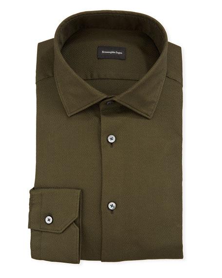 Ermenegildo Zegna Dresses MEN'S SOLID TEXTURED DRESS SHIRT