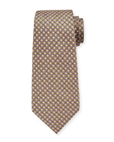 Men's Micro-Geo Silk Tie  Yellow