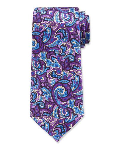 Men's Paisley Silk Tie  Purple