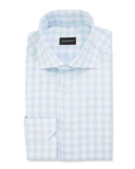 Ermenegildo Zegna Men's Large-Gingham Dress Shirt