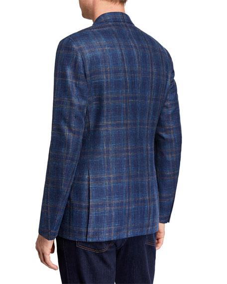 Men's Large-Plaid Wool/Silk/Linen Jacket