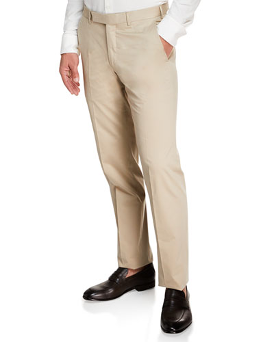 Men's Cotton Sateen Flat-Front Pants  Khaki