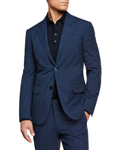 Men's Trofeo Seersucker Two-Button Blazer