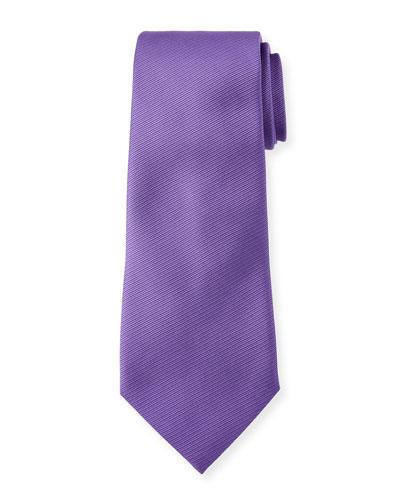 Solid Silk Twill Tie  Purple