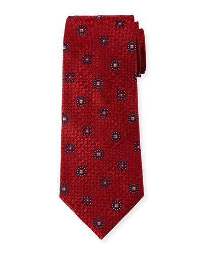 Silk Medallion-on-Jacquard Tie  Red