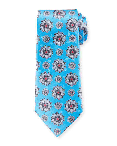 Exploded Flowers Silk Tie, Light Blue