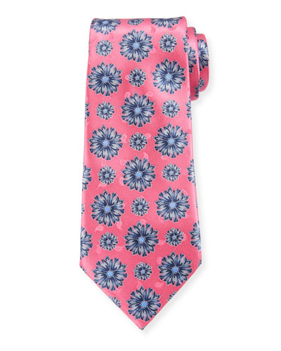 Exploded Flowers Silk Tie, Pink