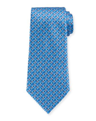 Micro-Flowers Silk Tie, Light Blue