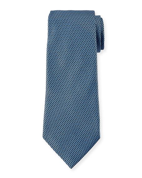 Ermenegildo Zegna Men's Chain-Link Silk Tie, Blue