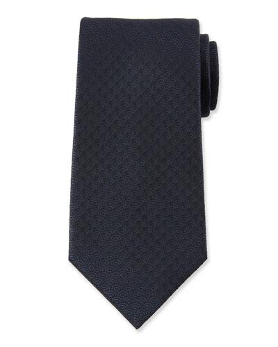 Men's Silk Woven Tiles Tie, Black