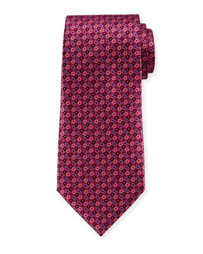 Micro-Flowers Silk Tie, Pink
