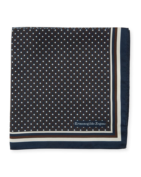 Ermenegildo Zegna Micro Diamond Silk Pocket Square