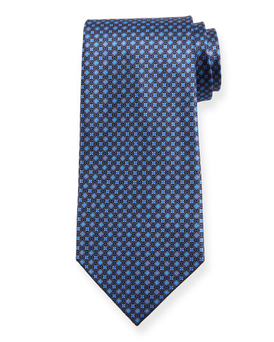 Boxes and Circles Silk Tie  Navy
