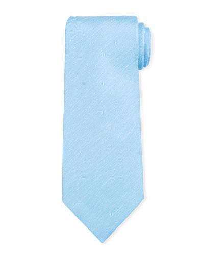 Two-Tone Chevron Silk Tie  Light Blue
