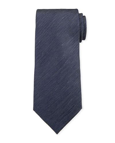 Two-Tone Chevron Silk Tie  Navy/White