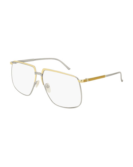 Gucci Men's Flat-Top Two-Tone Metal Sunglasses