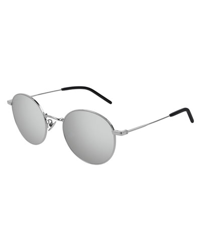 Men's Round Metal Mirrored Sunglasses