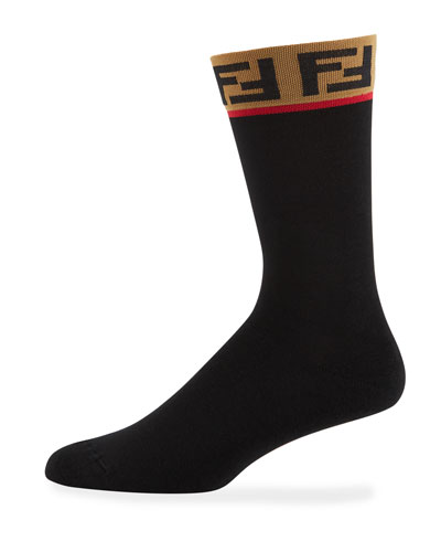 Men's FF Logo-Cuff Sports Socks