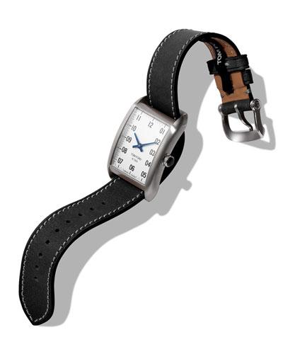 Men's 40x27  Calf-Leather Medium Watch, White/Black