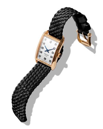 Men's 40x27 18K Gold Braided-Leather Medium Watch, White/Black