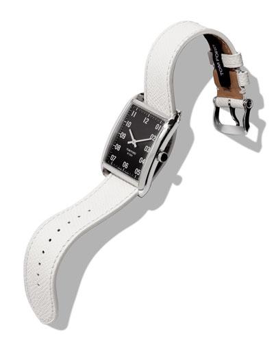Men's 44x30  Pebble-Leather Large Watch, Black/Gray