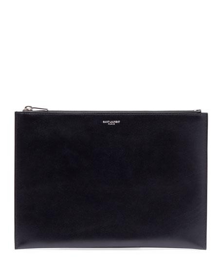 Medium Leather Zip-Top Pouch/Tech Case