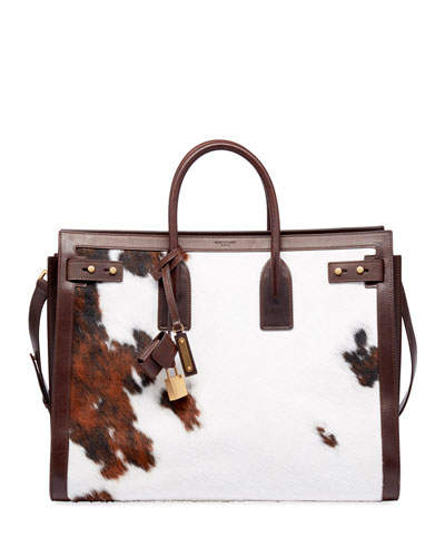 Men's YSL Tote Bag in Cow Print