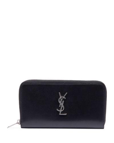 Men's YSL Monogram Leather Zip Wallet
