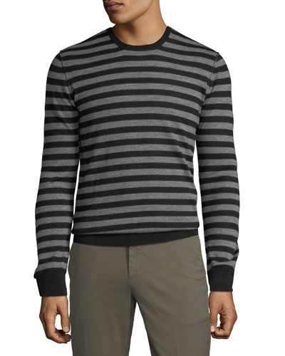 Men's Striped Wool Crewneck Sweater