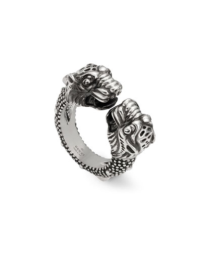 Men's Siamese Snake Tiger Head Ring