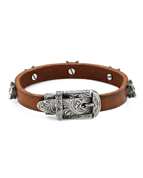 Gucci Men's Feline Head Leather Buckle Bracelet