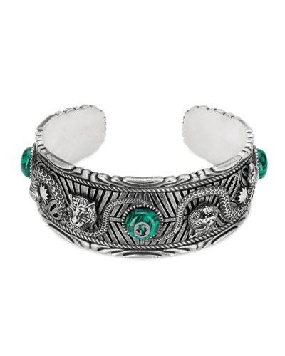 Men's Feline Head Cuff Bracelet with Green Resin