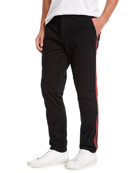 Ovadia & Sons Men's Side-Stripe Chino Track Pants