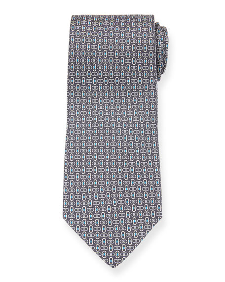 Salvatore Ferragamo Enne Gancini Silk Tie, Gray