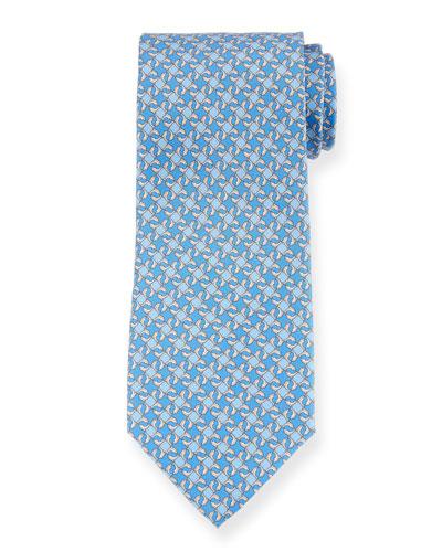 Geo Dolphins Silk Tie. Blue