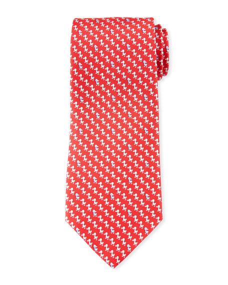 Salvatore Ferragamo Gaio Ducks Silk Tie, Red