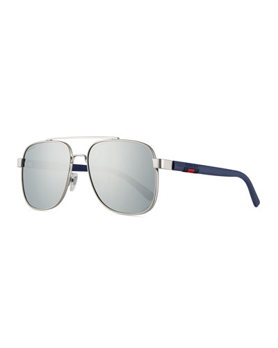 Men's Metal Aviator Sunglasses with Web Detail