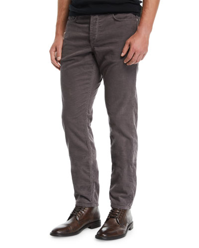 Men's Fit 2 Mid-Rise Relaxed Slim-Fit Corduroy Pants, Charcoal