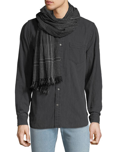 Men's Pin Check Cashmere Scarf