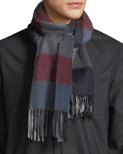 Men's Hilsaday Block Check Cashmere Scarf