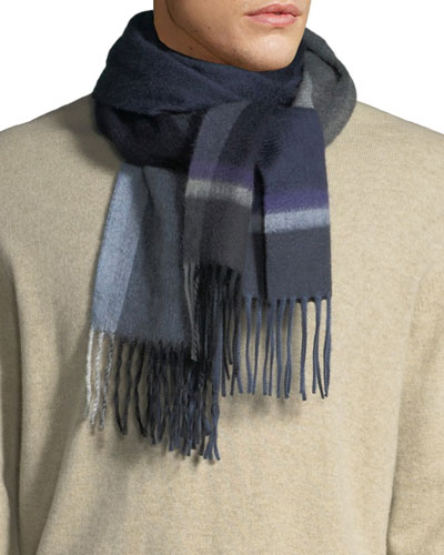 Men's Stack Check Cashmere Scarf