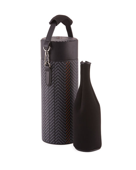 Ermenegildo Zegna Men's Pelle Tessuta Thermal Bottle Holder
